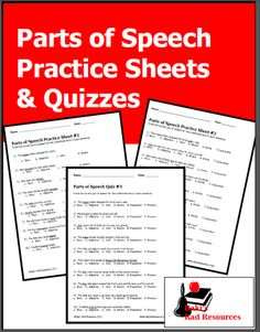 parts of speech practice sheets and quizzes - free download from Raki's Rad Resources