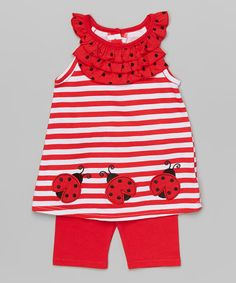 Look at this Red Ladybug Tank & Shorts - Infant & Girls on #zulily today!