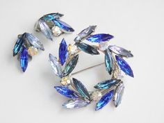 Vintage Blue Rhinestone Brooch Earrings Demi by GrandVintageFinery, $34.95