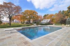 Swimming pool of luxury home in Briarcliff Manor, New York