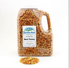 Our JUG SIZE contains a FULL GALLON (16 Cups) of fresh tasting dry Sweet Potatoes! Excellent for backpackers, RV'ers, or for your cupboard! Sweet Potatoes are a great addition to your meal. Use plain or as an accent to your favorite dish. If your willing to share with your little friends, they make great pet snacks too! These are PURE sweet potatoes--nothing added. Buy sweet potatoes in bulk today!