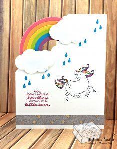 Fantasy Week Stampin' Up!® Style Magical Day Bundle and Sunshine Bundle Unicorn Shaped Card www.melaniestamps.com SU
