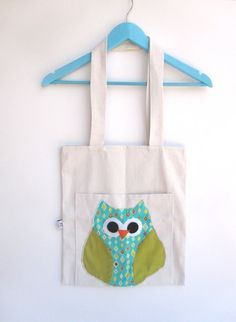 Large Tote , Bag diaper , bag purse , market tote , library bag , gym sack , gift , baby shower , nappy ,everyday tote , canvas owl appliquè $38.00 USD Only 1 available