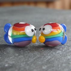 Lampwork beads 304 Fish Pair 2 Rainbow Fish by beadgoodies on Etsy, $10.00