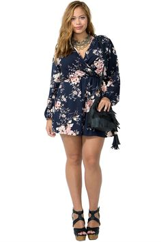 Plus Size Trendy Sheer Chiffon Wrap Front Shorts Romper with Sash ...