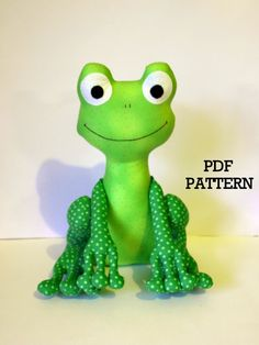 Frog PDF Sewing Pattern soft toy  'Fergus' by TheMinersWife, $6.00