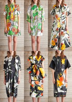 Fresh Botanical Drawings – Expressive Hand Drawn Florals – Watercolour Washes – Overpainted Brushstrokes – Bold Black Paint Strokes – Photographic Floral Cut-outs – Dahlia and Sunflower Heads – Ink Outlines London Womenswear Print Highlights Part 1 – Spring/Summer 2015 catwalks