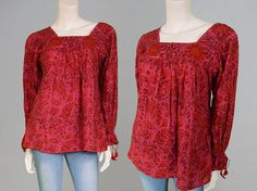 Vintage 70s Red Indian Cotton Paisley Shirt Boho by ZeusVintage