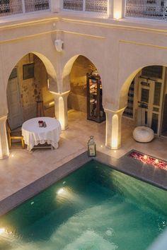 Riad AnaYela Marrakech Pond Tubs, Riad, Hotels, Restaurant, Cool Pools, Moroccan, Case, Cool Stuff, Interior