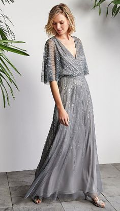 f16694d4ce1 Adrianna Papell V-Neck Beaded Blouson Illusion 3 4 Sleeves Gown Mother of  the