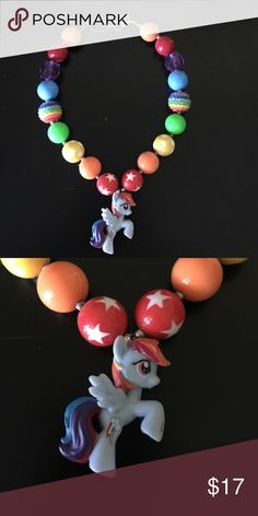 Rainbow Dash chunky bubblegum necklace Handmade, high quality rainbow dash chunky bubblegum necklace. Simply pair with your little ones cute outfit or use as a prop for a photo shoot! My Little Pony Jewelry Necklaces