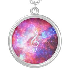 Galaxy Nebula Glitter Music Note Pink Space Necklaces