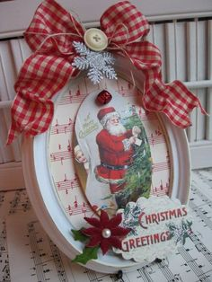 vintage christmas crafts Items similar to Vintage style christmas santa altered plaque frame decoration on Etsy Vintage Christmas Crafts, Christmas Card Crafts, Christmas Projects, Handmade Christmas, Holiday Crafts, Victorian Christmas, Vintage Ornaments, Vintage Santas, Angel Ornaments