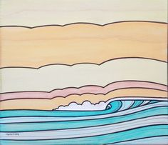Sky Lines - mixed media surf art on wood by Joe Vickers