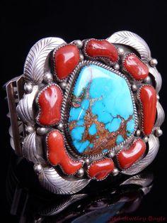 Augustine Largo Navajo Vintage Large Coral & Turquoise Silver Cuff Bracelet…