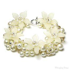 Cristal Swarovski Cluster perle Ivoire large Bracelet