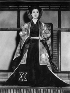 Japanese princess Suga Takako (-HiroHito's daughter) wearing traditional imperial ceremonial court robes in which she will be wed on 3 March 1960
