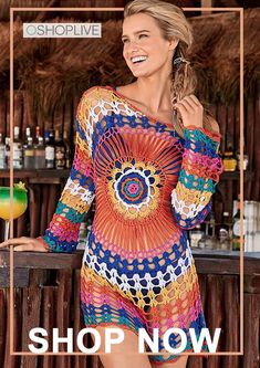 7095804fdcd4  29.99 Crochet Colorful Knitting Cover-up. oshoplive
