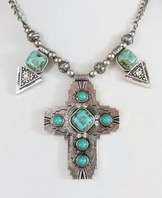 Cowgirl Bling Western CROSS Rhinestones Faux TURQUOISE Native necklace set #mystyle