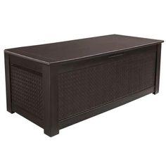 Rubbermaid 136 Gal. Chic Basket Weave Patio Storage Trunk Deck Box in Brown