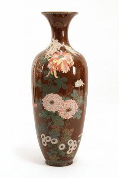 "CLOISONNÉ ENAMEL PALACE VASE Meiji Period With colorful chrysanthemum design on an aventurine ground. Height 37"" (94 cm)."