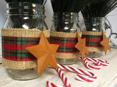 Set of 3 Burlap and Christmas Plaid Wrapped Mason Jars with Rustic Stars. Perfect for Gifts, Home Decorations, Weddings, Storage, and MORE