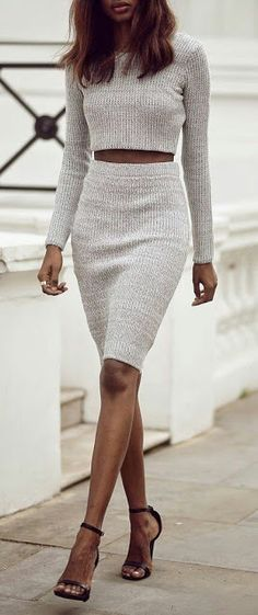Wool blouse and pencil skirt