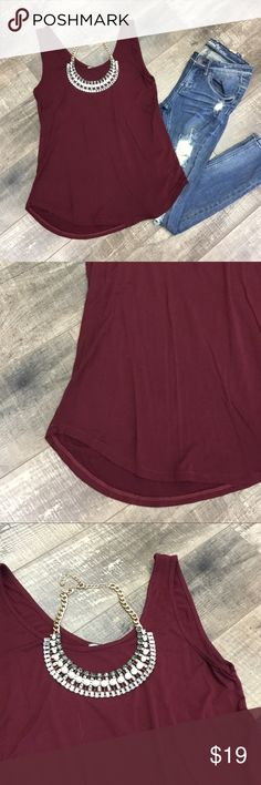 Soft, lose fit maroon tank Incredibly soft, flowy, stretchy, with a scoop neck Emma's Closet Tops Tank Tops