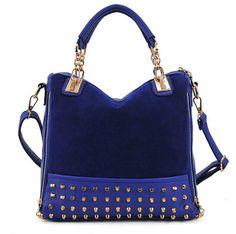 Blue nubuck leather women's handbag rivet shoulder bag mesenger bags