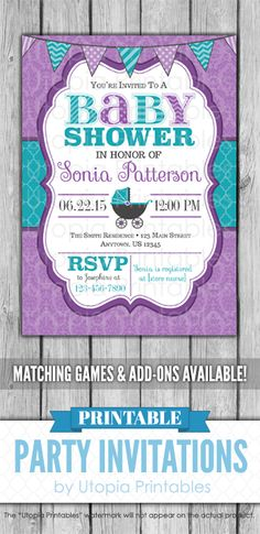 A cute printable teal and purple baby shower invitation with lavender damask, turquoise quatrefoil, a baby buggy carriage and aqua blue and purple bun. Baby Shower Prizes, Baby Shower Cupcakes, Baby Shower Fun, Baby Shower Invites For Girl, Girl Shower, Baby Shower Themes, Baby Shower Invitations, Shower Ideas, Baby Shower Purple