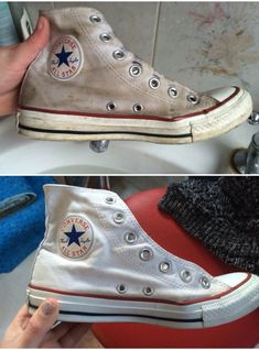 Before and after cleaning converse in the most bazaar way! Scrub with white tooth paste! Then wash off then brush bleach over them with an old toothbrush, put them through the washing machine and tada! Converse that look like new! Cleaning Converse, Cleaning White Vans, How To Clean White Shoes, Clean Shoes, How To Whiten Shoes, How To Wear White Converse, How To Wash Converse, White Converse Shoes, Cleanser