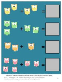 Owls File Folder Games PK-K Special Education Autism -- Here are 7 file folder games with an adorable owls theme. Students will practice beginning sounds, patterns, upper case letters, sight words, counting, addition, and number words.