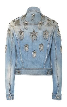 Star Embellished Denim Jacket by Roberto Cavalli jaqueta jeans tendência 2017 Denim Fashion, Look Fashion, Womens Fashion, Fashion Design, Mode Country, Kleidung Design, Mode Jeans, Jeans Denim, Denim Coat