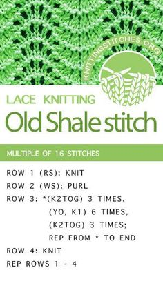 Baby Knitting Patterns Lace Learn How To Knit the Old Shale Lace Stitch. Baby Knitting Patterns, Lace Knitting Stitches, Knitting Charts, Easy Knitting, Loom Knitting, Knitting Socks, Stitch Patterns, Knitting Machine, Loom Patterns