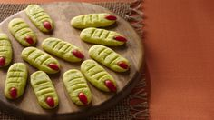 Frankensteins Monsters Toes recipe and reviews - Make these crispy wrigglers out of refrigerated sugar cookie dough and blanched almonds painted with red food color.