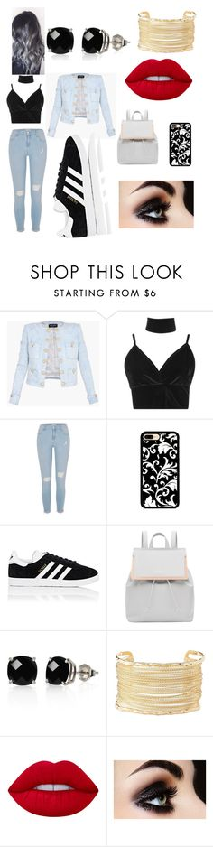 """Untitled #3"" by sofiaflores-2 ❤ liked on Polyvore featuring Balmain, Boohoo, River Island, adidas, Ted Baker, Belk & Co., Charlotte Russe and Lime Crime"