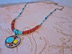 Summer Sunrise Beaded Charm Necklace, Gift For Her, Antiqued Silver by SimplyMim on Etsy