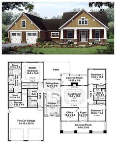 COOL House Plan ID: chp-42921   Total living area: 1902 sq ft, 3 bedrooms & 2.5 bathrooms. #craftsman #homeplan