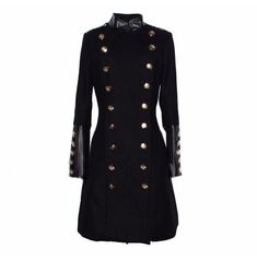 Women Military Style Coat Double Brested Stand Collar Women Fashion Slim Co Frauen Military Style Coat Double Brested Stehkragen Damenmode Slim Co Black Wool Coat, Long Wool Coat, Long Coats, Military Style Coats, Military Trench Coat, Langer Mantel, Winter Stil, Double Breasted Coat, Latest Street Fashion