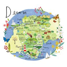 Devon Map Art Print at Whistlefish - handpicked contemporary & traditional art that is high quality & affordable. Devon England, England Map, Cornwall England, Devon Map, Devon And Cornwall, Cornwall Map, Tourist Map, North Devon, Travel Maps