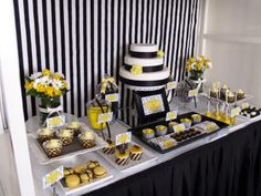Black white and yellow themed table