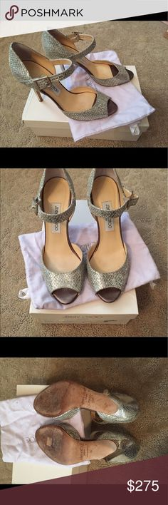 "Jimmy Choo ""Articolo"" heel 39 Beautiful silver sandal w 4 inch heel. Excellent used condition Jimmy Choo Shoes Heels"