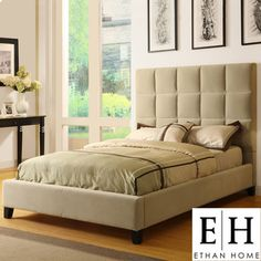 @Overstock - This modern king size platform bed features taupe velvet and a tufted headboard. The bed set includes a headboard, a footboard, a set of rails, and 14 platform slats. The bed has a black finish. Headboard height is 52.75 and the footboard height is 9.http://www.overstock.com/Home-Garden/Ethan-Home-Sarajevo-Taupe-Velvet-Column-King-size-Platform-Bed/6165676/product.html?CID=214117 $557.99