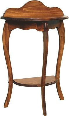 Amish Half Round French Country Pine Wood End Table Gorgeous curves all handcrafted by the Amish in Pennsylvania. Solid pine wood. Choice of stain, paint or distressed finish. #DutchCrafters