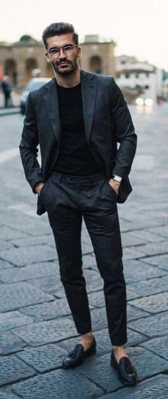 - with a all black monochrome business casual look with a black suit black t-shirt black leather banded watch no show socks black tassel loafers Urban Apparel, Gentleman Mode, Gentleman Style, Urban Fashion Women, Mens Fashion, Queer Fashion, Hip Hop Fashion, Tomboy Fashion, Fashion Shoot
