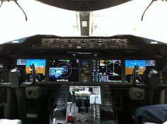 The Boeing 787 Dreamliner flightdeck, photographed at one of our hangars at London Heathrow.