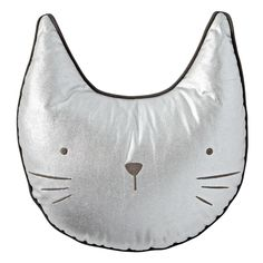 Shop Metallic Cat Throw Pillow.  This grey metallic cat throw pillow is very similar to a real cat: It loves to lounge on a bed or sofa, and it most likely won't come when you call it.