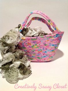 Mini Corded Fabric Tote in Pink by CSassyCloset on Etsy, $20.00