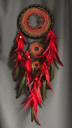 Dream Catcher DreamCatcher Boho Deco atrapasueños negro rojo