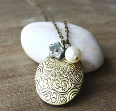 Locket Necklace Oval  Turquoise Flower Charm Cream by floria, $19.90